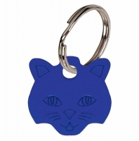 Cat face Blue Anodised Alum Tag Blue 23mm x 23mm