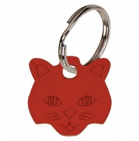 Cat face Red Anodised Alum Tag Red 23mm x 23mm