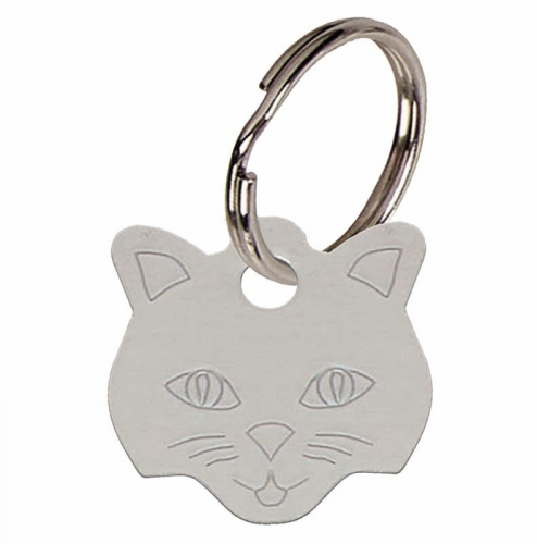 Cat face Silver Anodised Alum Tag Silver 23mm x 23mm