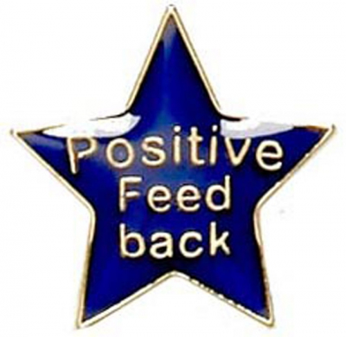 Badge20 Positive Feedback Blue Blue 20mm