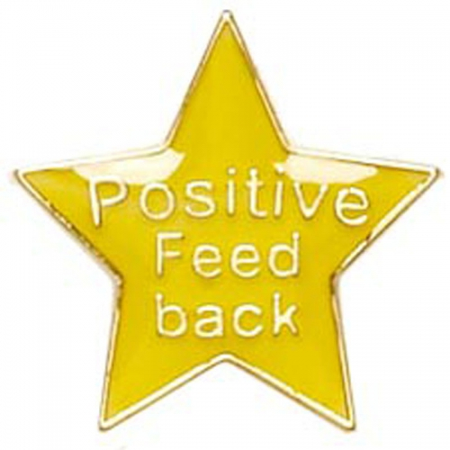 Badge20 Positive Feedback Yellow 20mm