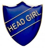 ShieldBadge Head Girl Blue 22 x 25mm