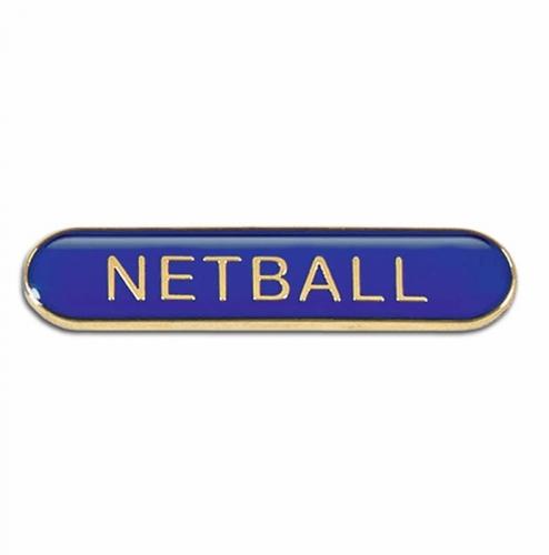 BarBadge Netball Blue 40 x 8mm