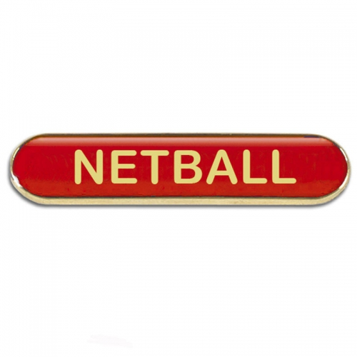 BarBadge Netball Red 40 x 8mm