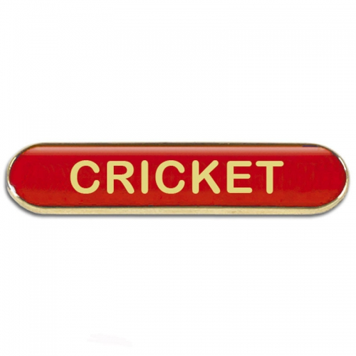 BarBadge Cricket Red 40 x 8mm