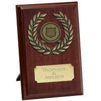 Pure4 Laurel Plaque Rosewood/Gold 4 Inch
