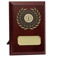 Prize6 Plaque Rosewood/Gold 6 Inch