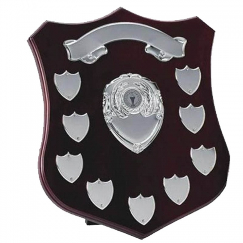 Champion12 Silver Annual Shield Rosewood/Silver 12 Inch