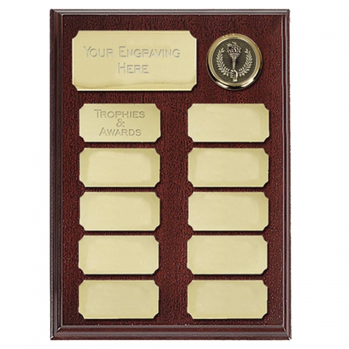 Ashfield8 Economy Plaque Rosewood/Gold 8 Inch