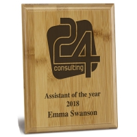 Laser Engraved Bamboo Plaque 6 7 8 x 5 Inch (17.5 x 12.5cm) : New 2019