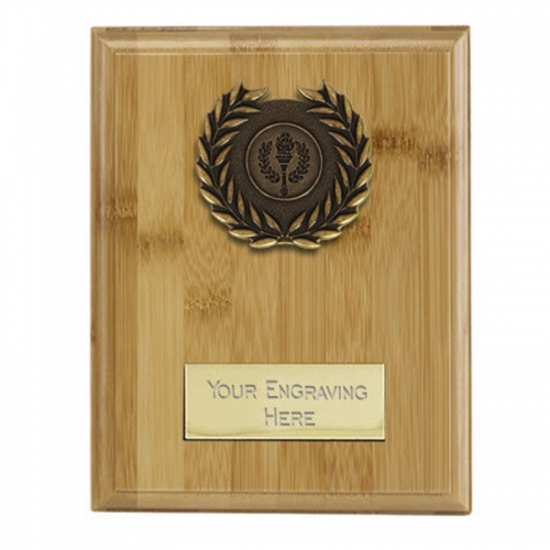 Bamboo Plaque Bamboo/Ant Gold 6.75 Inch