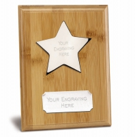 Bamboo Star Presentation Plaque Trophy Award 6 7/8 x 5 Inch (17.5 x 12.5cm) : New 2020