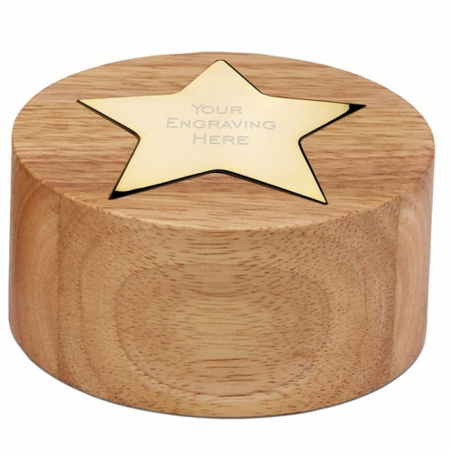 Cylinder Star Gold 4 Inch (10cm) Diameter, 2 Inch (5cm) Height : New 2020