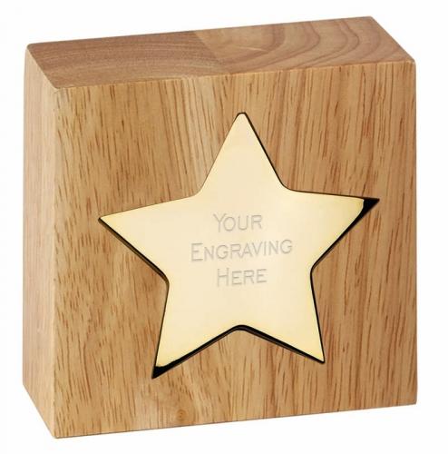 Gold Star Block 3 7/8 x 3 7/8 Inch (10 x 10cm) : New 2020