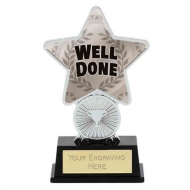 Well Done Trophy Award Superstar Mini Silver 4.25 Inch (10.5cm) : New 2020